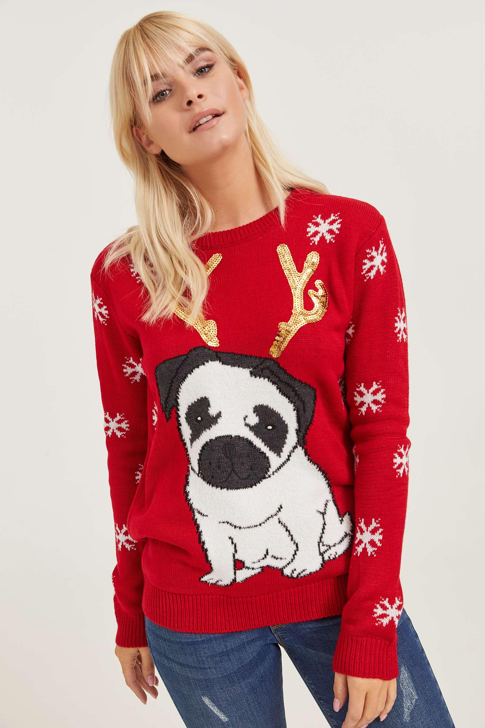 Ugly Xmas Pug Sweater Clothing | Ardene