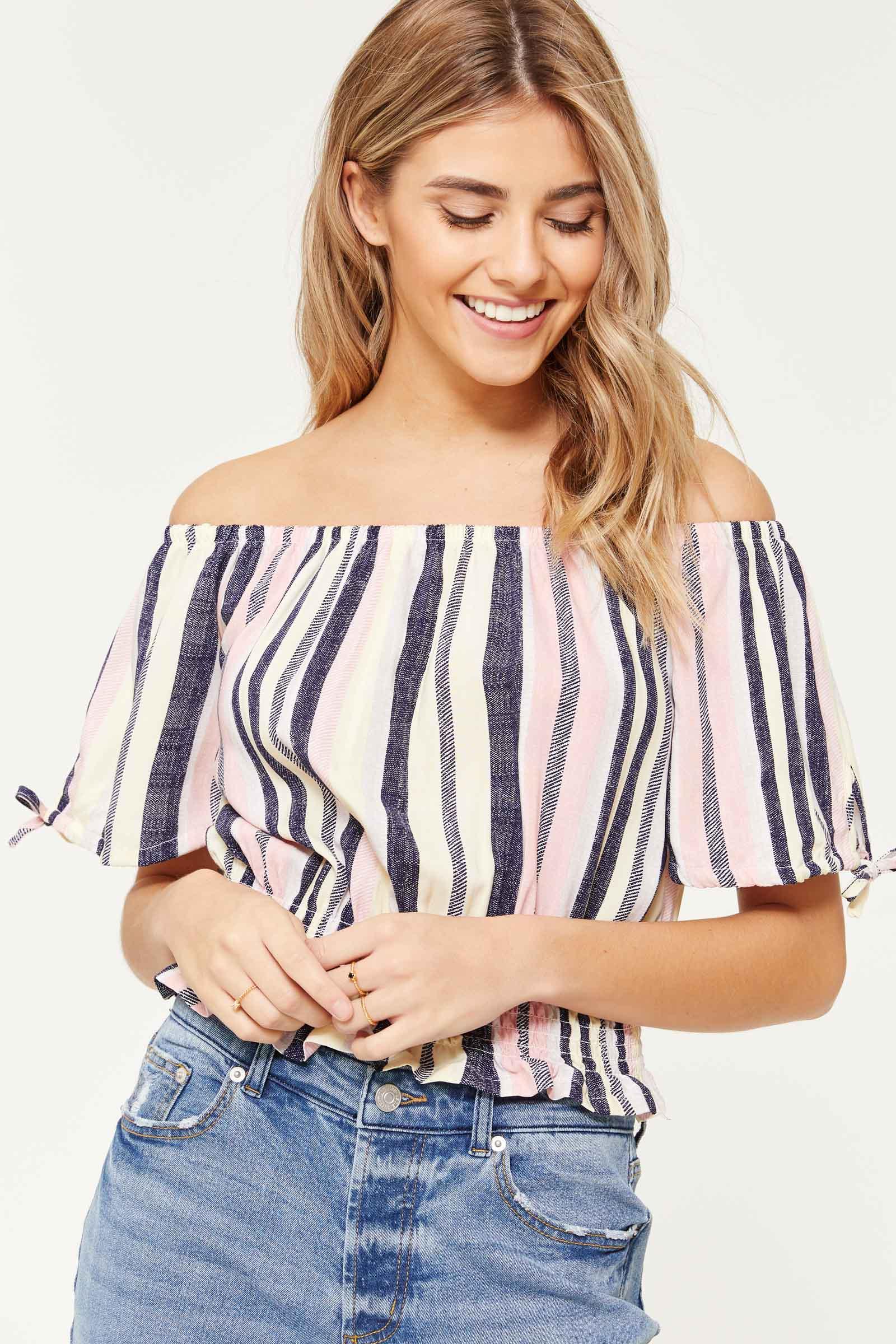 890659ca454b47 Striped Smocked Off Shoulder T-shirt - Clothing