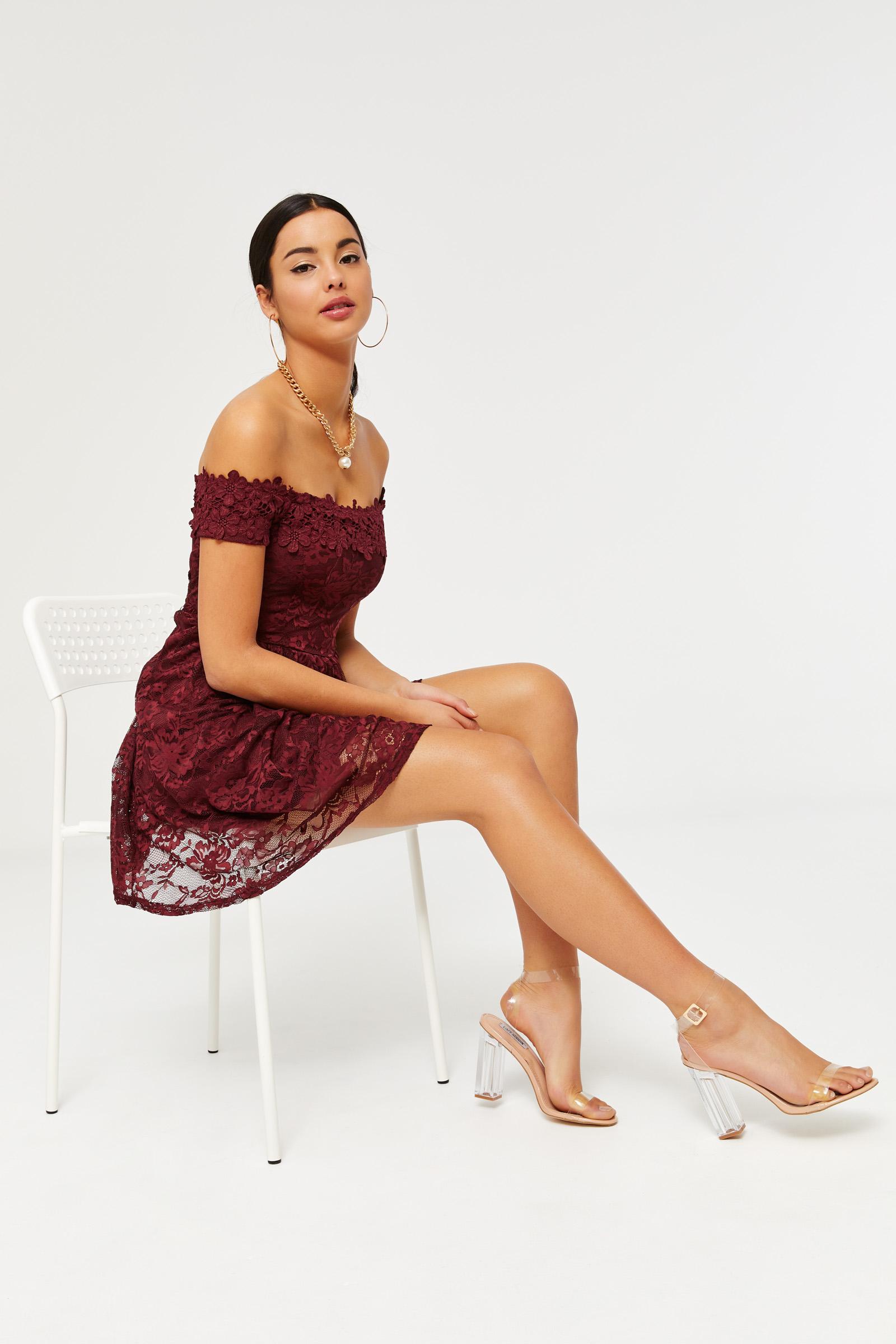 da4e5a3c45d Floral Lace A-Line Dress