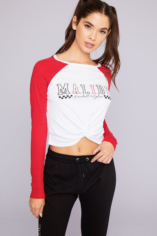 d2f94ad9daef51 Ardene Ardene Women s Kendall   Kylie Crop Raglan Malibu Tee