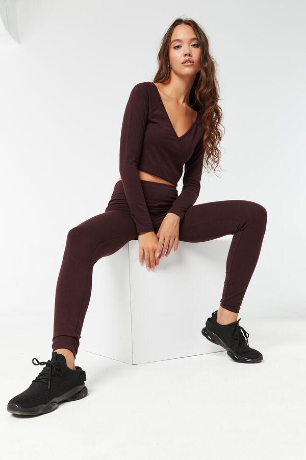 Legging en jersey à bande de taille large