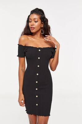 fde033f06b Ribbed Off Shoulder Mini Dress
