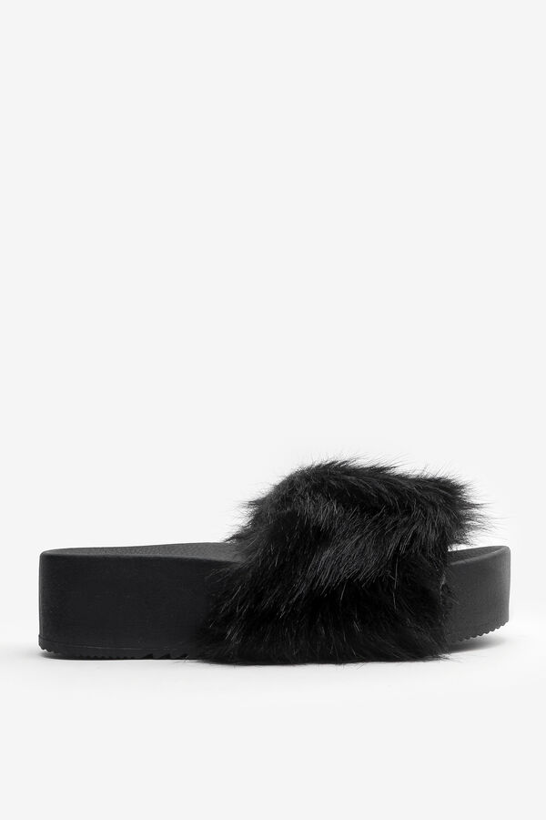 Faux Fur Platform Slides