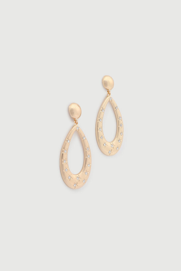 Drop Hoop Earrings with Gemstones