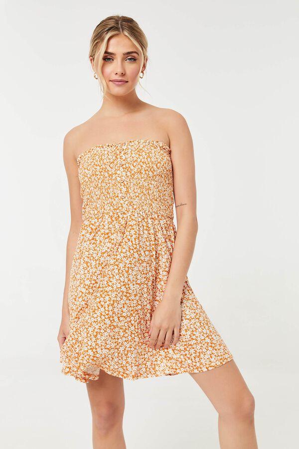 Smocked Strapless Skater Dress