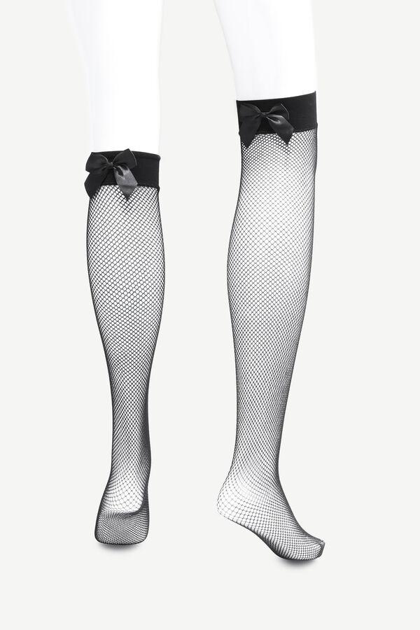Fishnet Bow Stockings