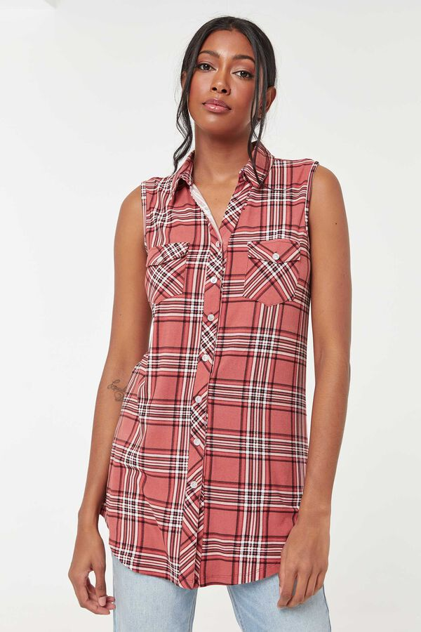 Sleeveless Plaid Button-Down Shirt