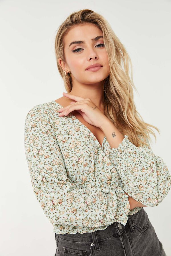 Ditsy Floral Wrap Front Blouse
