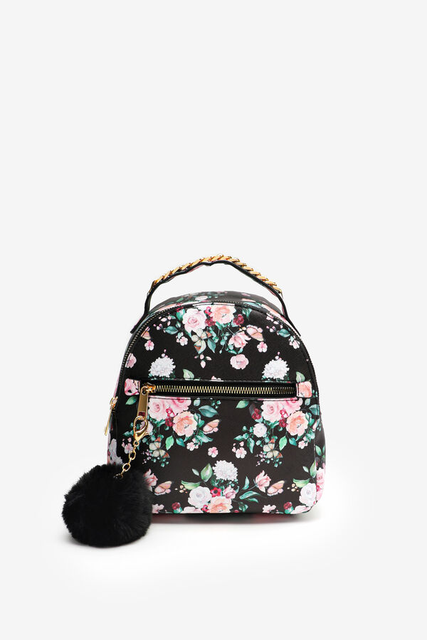 Floral Faux Leather Backpack with Pompom