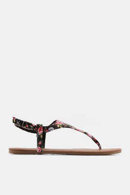 e22e1502bee Floral Faux Leather T-Strap Sandals