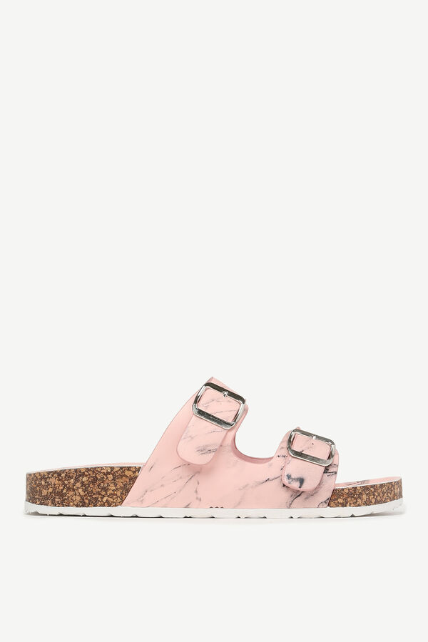 Marble Buckle Slide Sandals