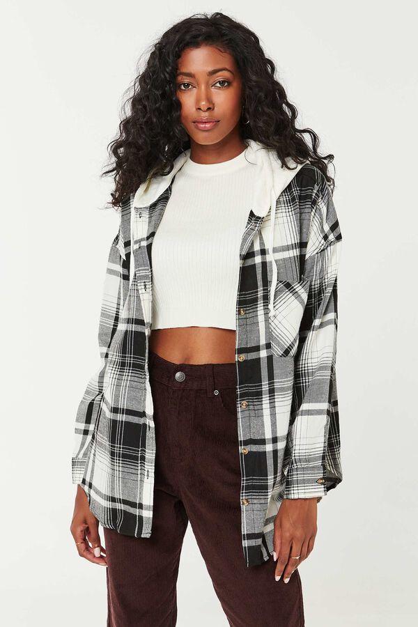 Chemise ample en flanelle à carreaux et capuchon
