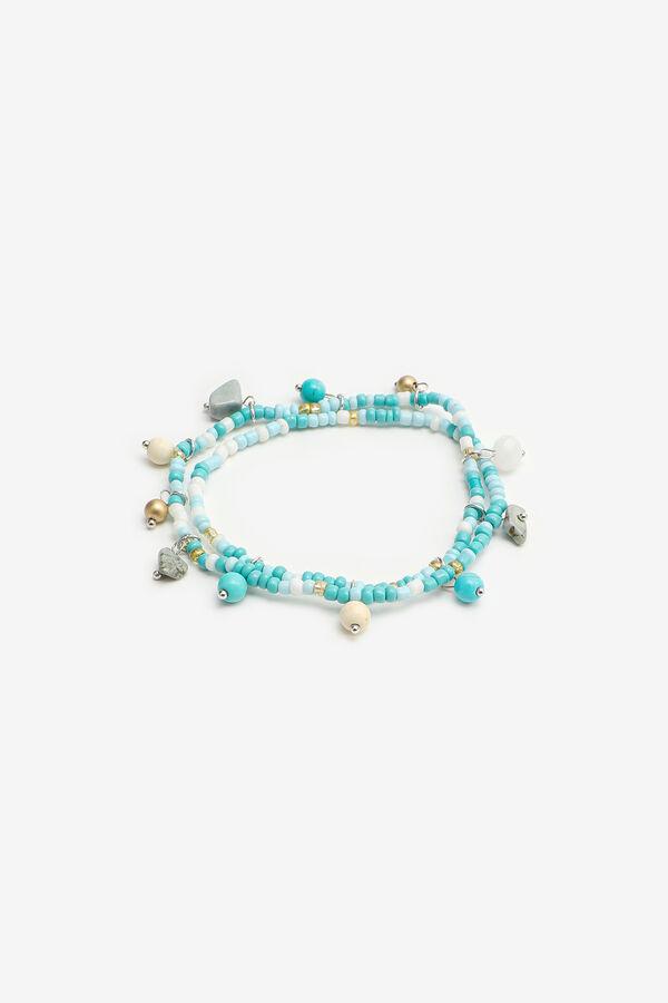 Bracelets de cheville à billes multibleues