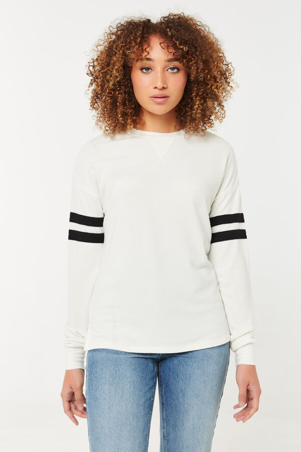 Brushed Sweater with Varsity Stripes