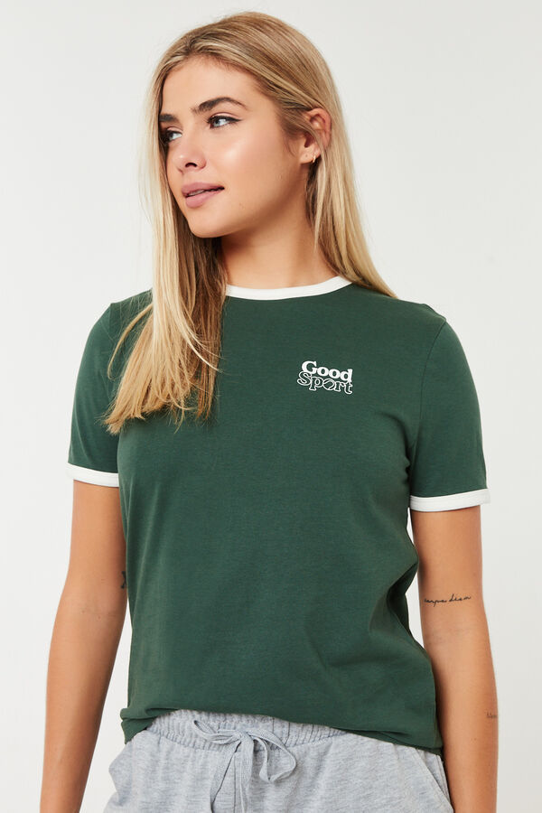 Cotton Ringer Tee with Lettering
