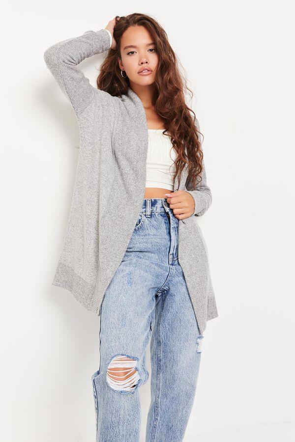 Brushed Knit Open Cardigan
