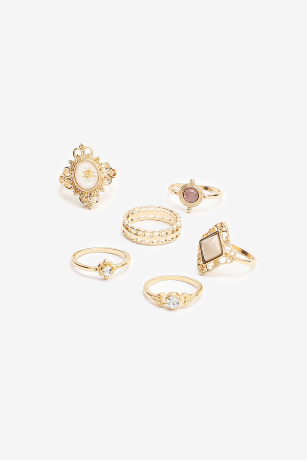 Pack of Gold Tone Embellished Rings