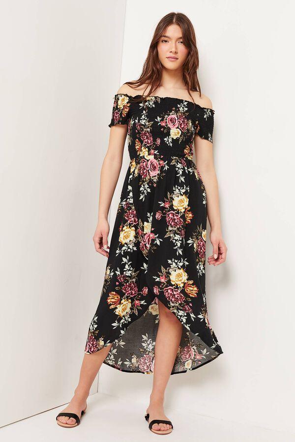 Floral Off Shoulder High-Low Dress
