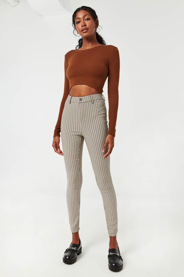 Plaid Straight Leg Pants