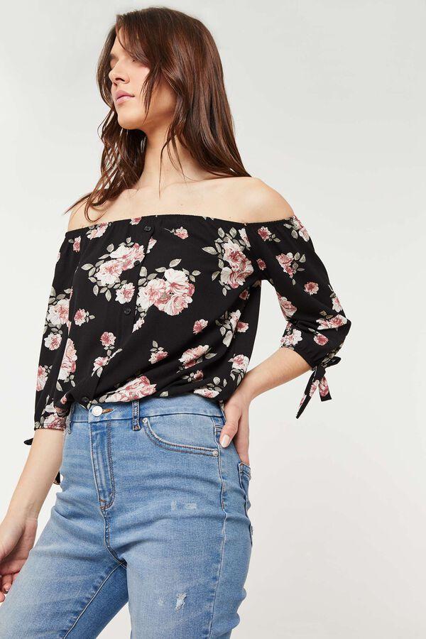 Off Shoulder Floral Crepe Top