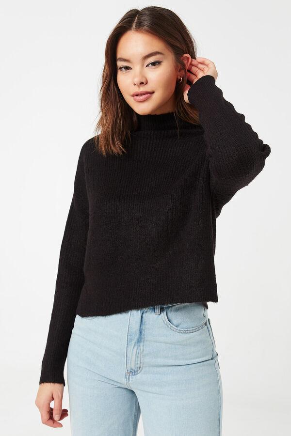 Brushed Yarn High Neck Sweater