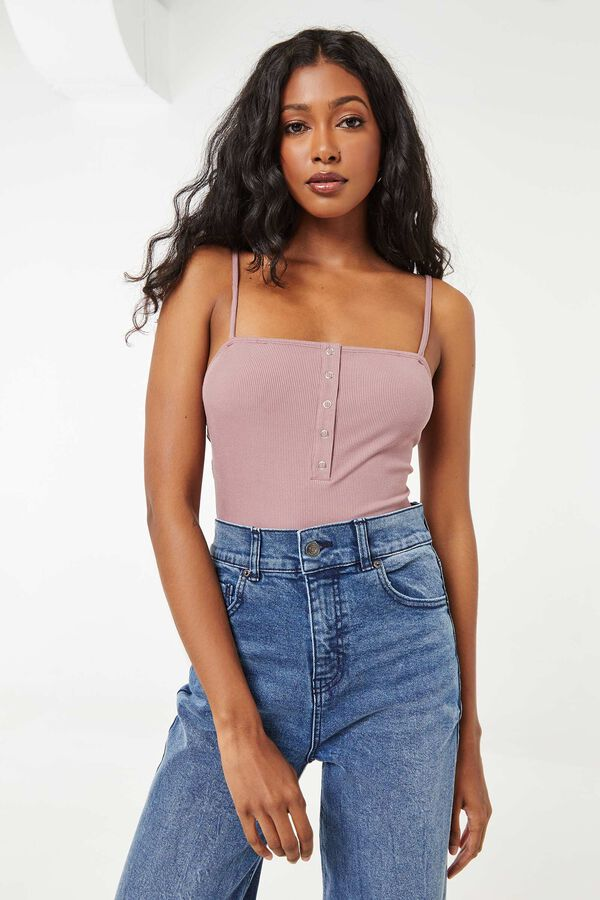 Ribbed Buttoned Bodysuit