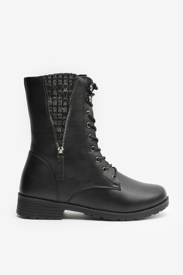 Combat Boots with Knit Detail