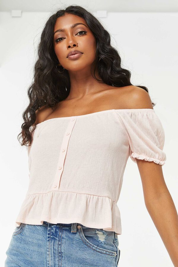 Cropped Peplum Blouse with Buttons