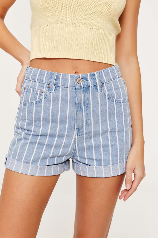 1dd1afe8fa64 Images. Striped Striped High Rise Jean Shorts ...