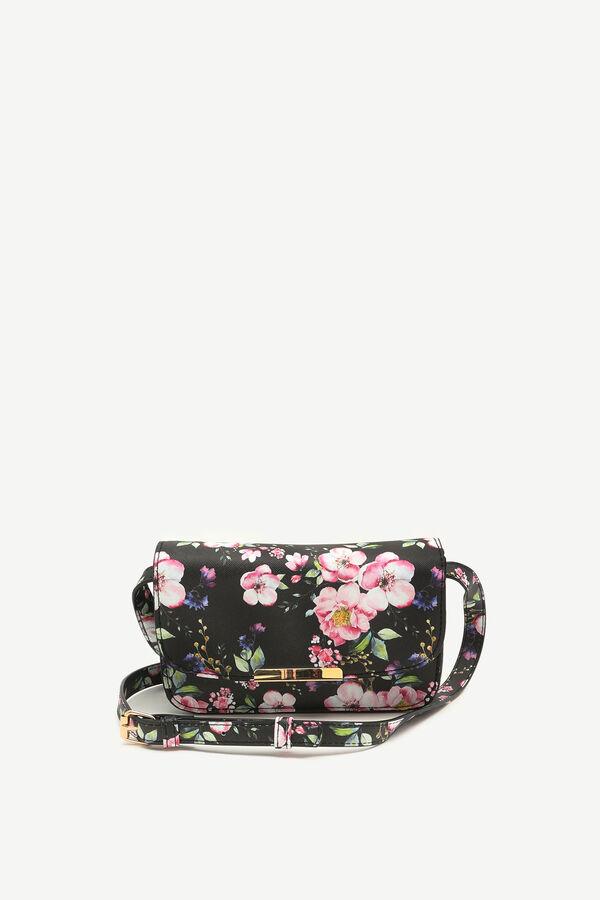 Mini sac bandoulière à rabat fleuri