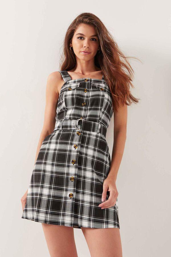 Plaid Overall Mini Dress