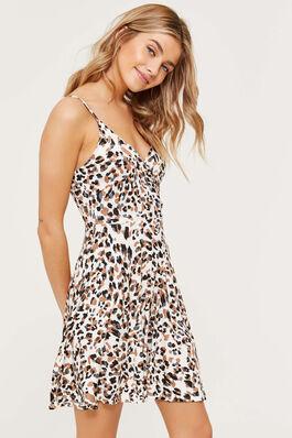 Animal Print Wrap A-line Mini Dress 14d03f1c7