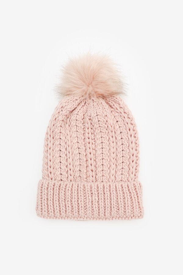 Rib-knit Pompom Beanie