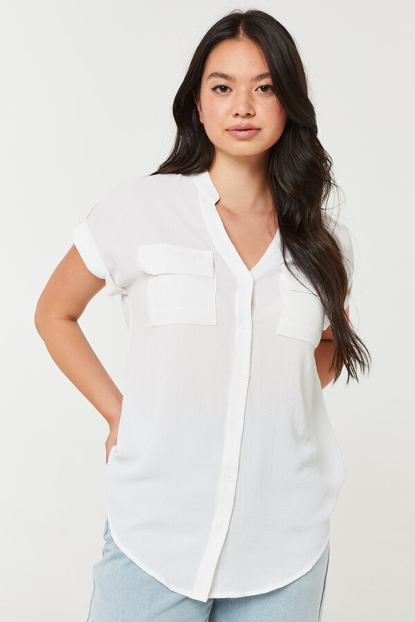 Long Button-Up Shirt with Band Collar