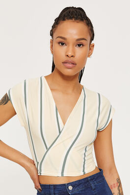 ea52930fc52 Super Soft Striped Wrapped Top
