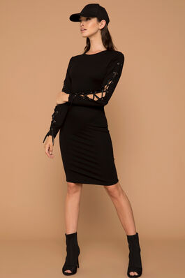 Kendall Kylie Midi Lace Up Dress