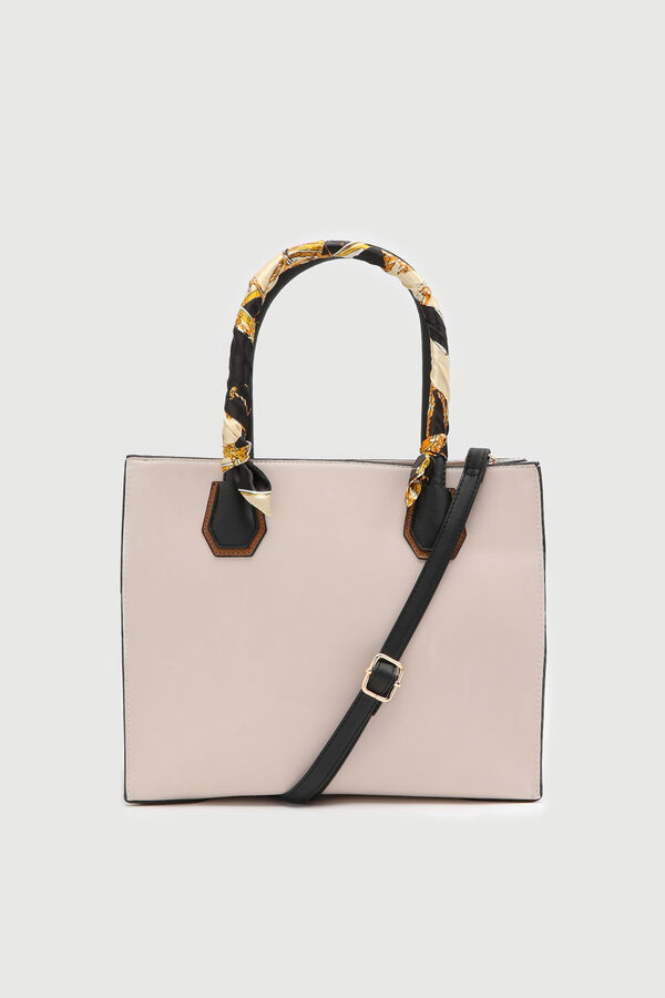 Faux Leather Tote with Scarf