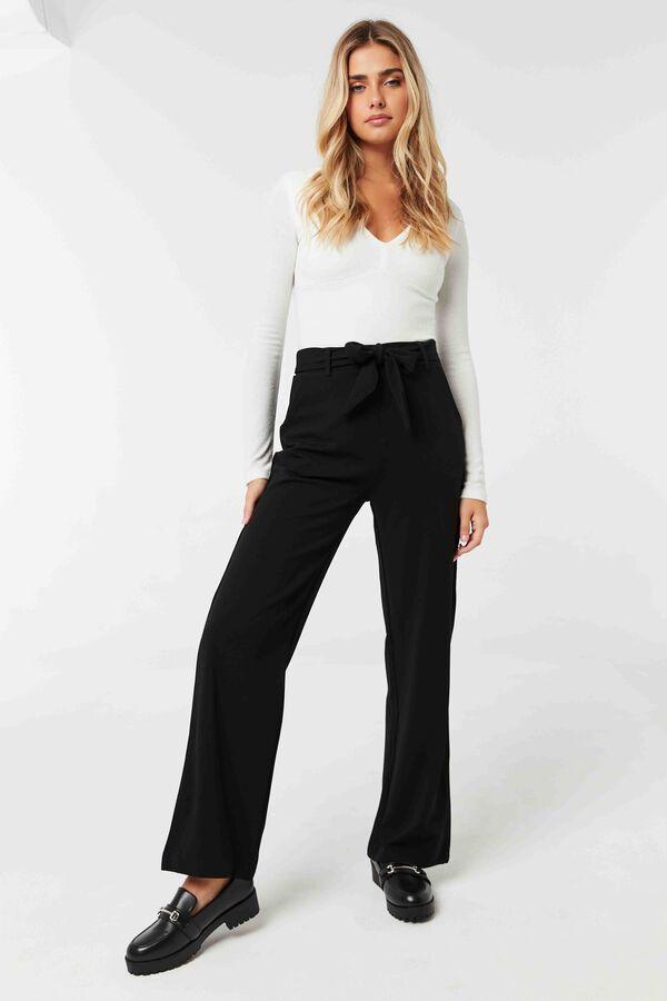 Wide Leg Pants with Self Sash Belt