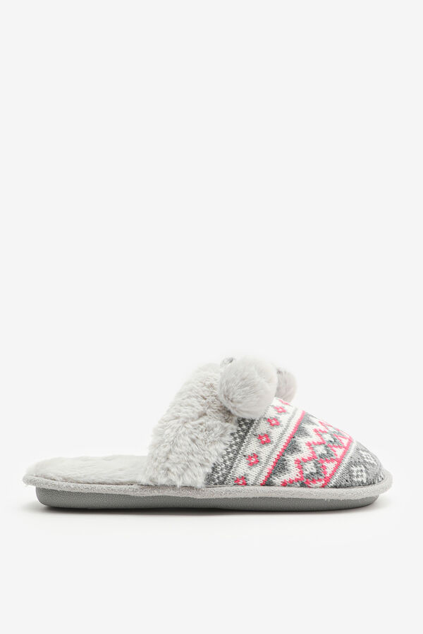 Cable-Knit Slide Slippers with Pompoms