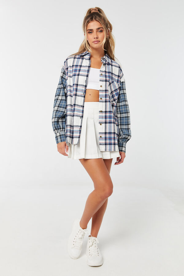 Oversized Mixed Plaid Flannel Shirt