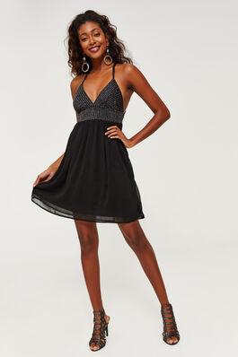 Metallic A Line Mini Dress