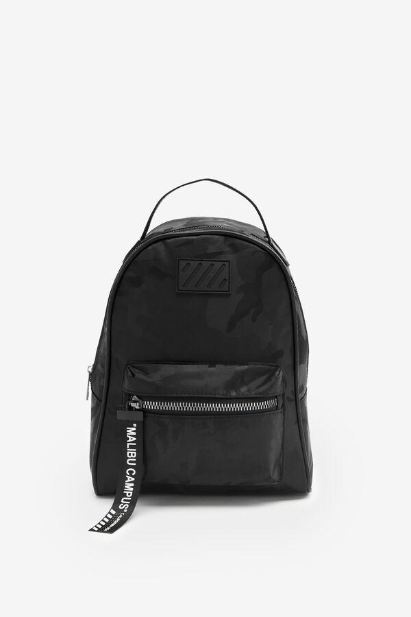 Black Camo Sporty Nylon Backpack