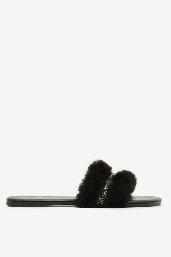 Sandales glissières en fausse fourrure