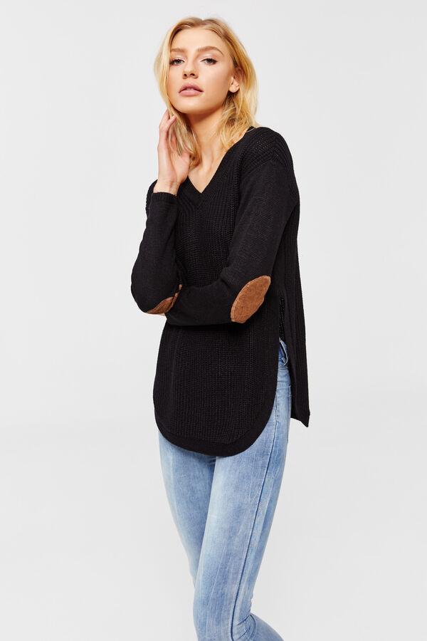 ceaa622af25 Ardene Ardene Women's Elbow Patch V-Neck Sweater, black, spring summer 2018  CLOTHING, ...
