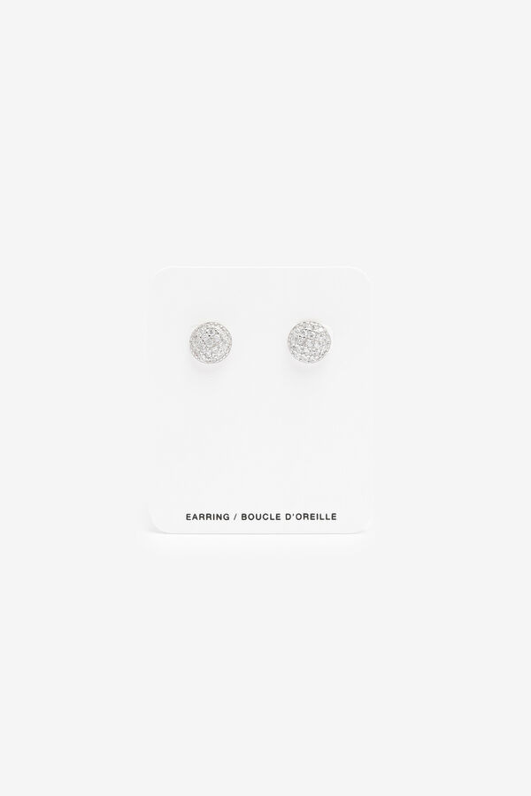 Round Glitter Sterling Silver Studs
