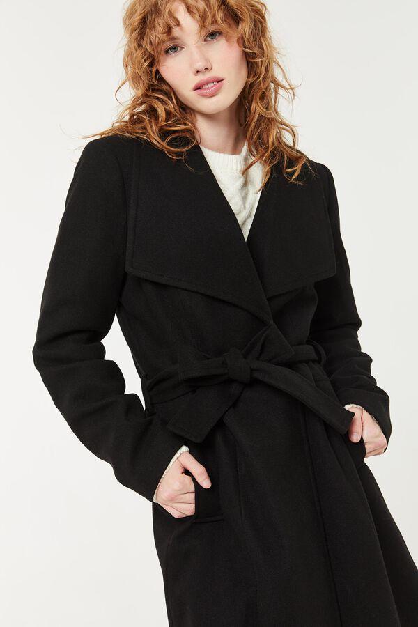 Wrap Coat with Lapel Collar