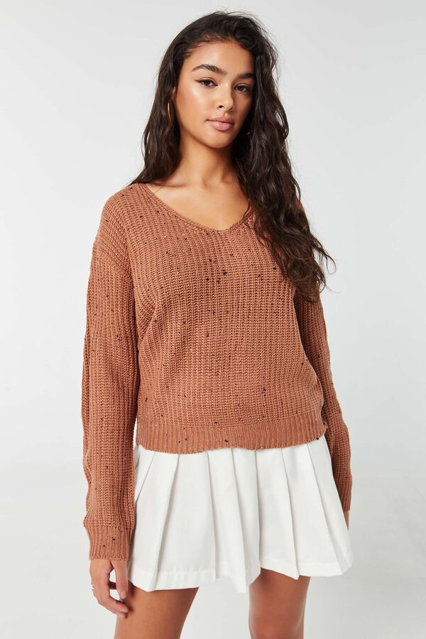Twist Plunging-Back Sweater
