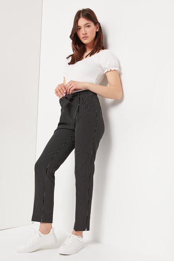Pinstripe Paper Bag Pants