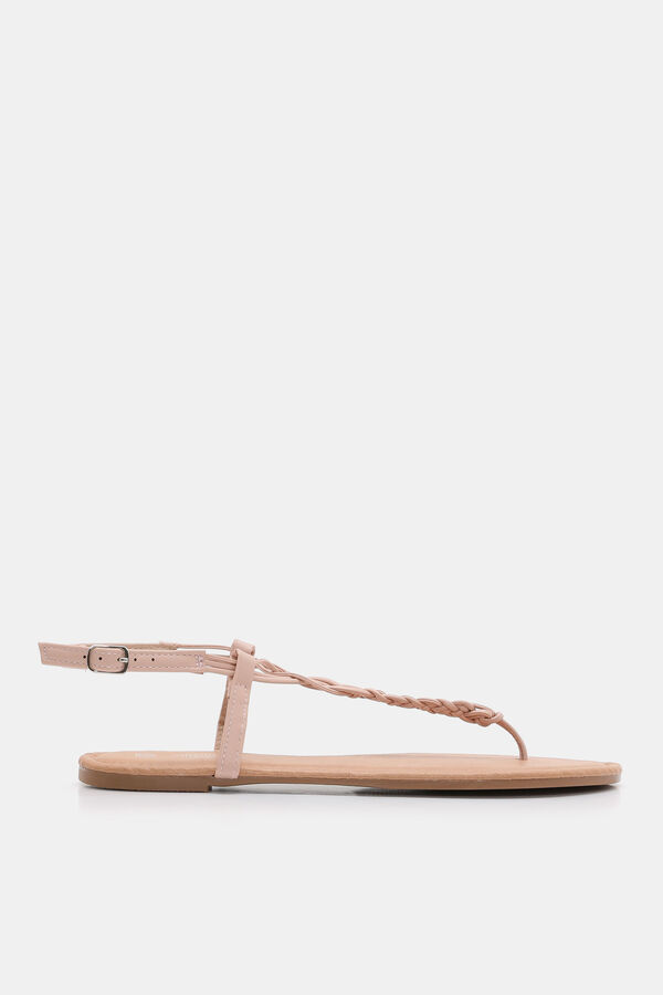 5f9cabbba Ardene Ardene Women s Braided Faux Leather T-Strap Sandals