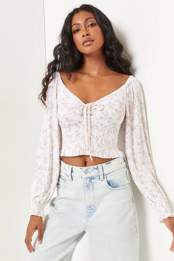 Floral Ruched Long Sleeve Peasant Top